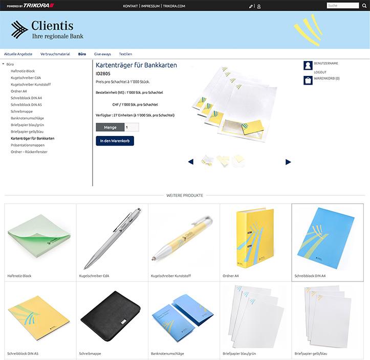 CLIENTIS Trikora Webshop interface
